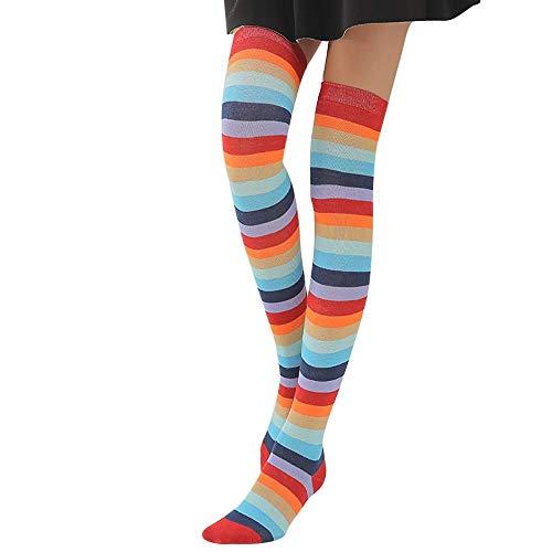Women'S Sokken Vrouwen Regenboog Winter Warm Kabel Kniekousen Mode Lange Laarzen Sokken Over Knie Dij Hoge Casual Sokken 2 Paar Stijl A