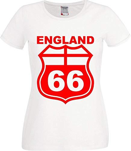 RISKYT Copa Mundial Clásico Copa Mundial de Fútbol Retro Inglaterra Ruta 66 Camiseta para mujer