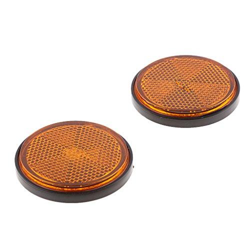 Perfeclan 2 STK. Runde Reflektoren für LKW Auto Motorrad Boot Fahrrad, Ø 55mm - Orange