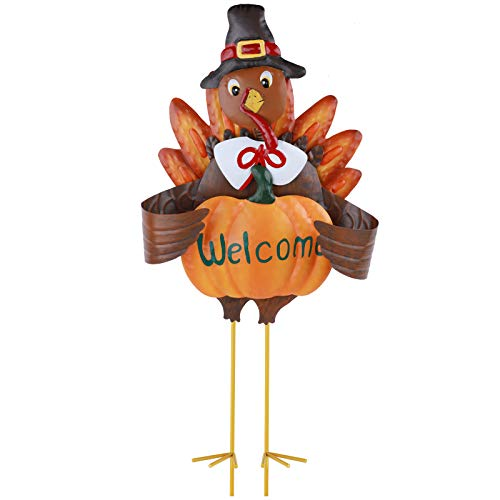 23' Metal 3D Turkey Stake for Thanksgiving and Fall Decorations – Outdoor Garden Yard Décor