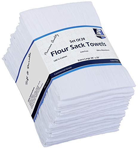 Flour Sack Kitchen Towels (White,24 Pack) 100% Cotton 28x28 Inch Cloth Napkin, Bread wrapper, Cheesecloth, Multi Purpose Kitchen Dish Towels,Bar Towels, Extremely Absorbent & Sturdy By Excellent Deals
