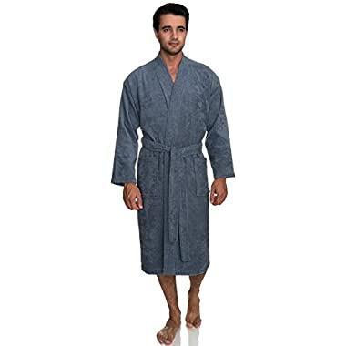 TowelSelections Men's Robe, Turkish Cotton Terry Kimono Bathrobe Large/X-Large Flint Stone