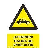 Señal Atencion Salida De Vehiculos PVC 21x30 Amarillo