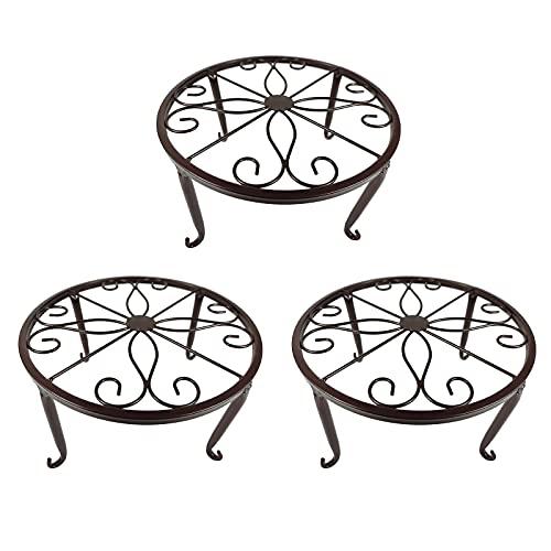 YIREAUD Soporte de metal para plantas, 3 en 1 macetas de hierros, soporte para maceta de piso, con patrón de desplazamiento, perfecto para sala de estar, jardín, patio