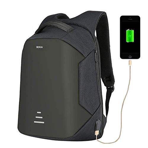 Tbag Antirrobo Mochila Impermeable USB Mochila de Seguridad Mochila para ordenado Portátil 16 Pulgadas para de Colegio Viaje Negocios KL-2,Negro (Negro,16
