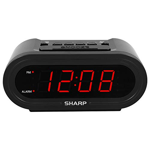 Sharp Digital Alarm with AccuSet - Automatic Smart Clock, Never Needs Setting - Great for Seniors, Kids, and Everyone who Doesn't Want to Set a Clock! Black Case with Red LEDs