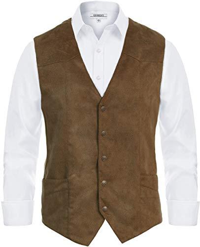 Gioberti Men's 5 Button Faux Suede Vest, Coffee, Medium