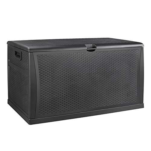 FIXKIT 460L Auflagenbox/Kissenbox, kann 100 kg Laden und dient zum Organisieren und Aufbewahren von Gartengeräten, Gartenmöbeln und Zubehör für Schwimmbäder [schwarz ]