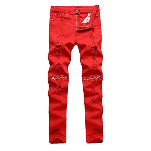 Alamor Mannen Punk Stijl Ripped Jeans Skinny Potlood Broek Rits Knie Broek 4 Kleuren-Rood-36