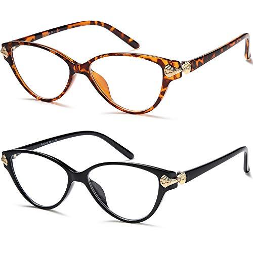 Cat Eye Reading Glasses for Women - YTDBNS 2 Pack Blue Light Blocking Glasses Computer Readers Lightweight Anti UV Glare +1.75
