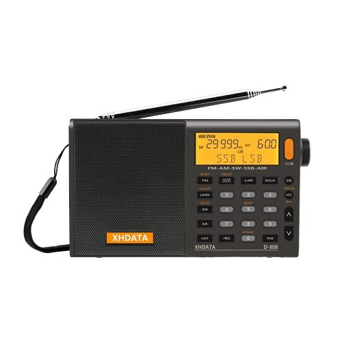 XHDATA D-808 Radio Digital Portátil FM estéreo/SW/MW/LW SSB RDS Banda Aérea Altavoz de Radio con Pantalla LCD Reloj de Alarma Antena Externa y Batería Recargable(Gris)