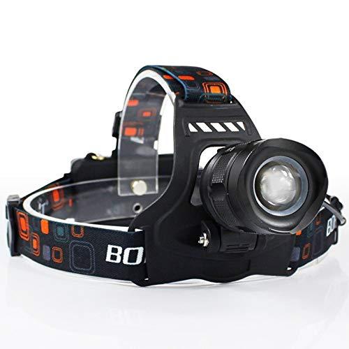 junfeng Linterna Frontal LED Linterna Frontal de Alta Potencia 5000lm Xm-l2 Faro Principal Zoom de 5 Modos Linterna Frontal Linterna Recargable