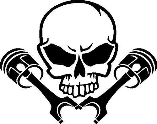 NetSpares 119658711 1 x 2 Plott Aufkleber Totenkopf mit Kolben Skull Kopf Turbo Sticker Tuning Fun