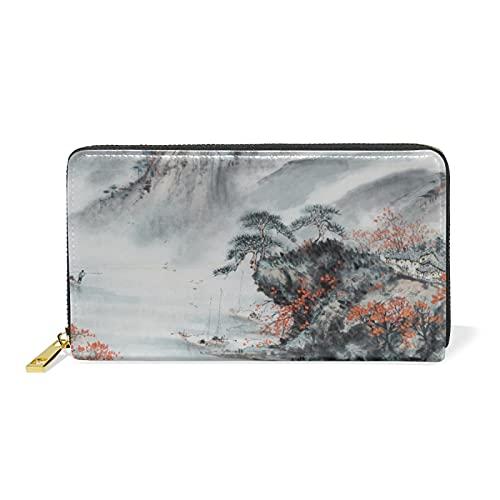 Peinture De Paysage À L'Encre De Chine Portefeuille pour Femme en Cuir Pochette Zipper Porte Monnaie Titulaire de la Carte de Crédit pour Téléphone Fille Garçon