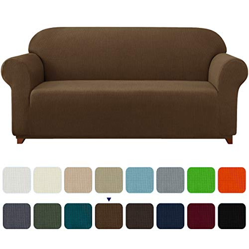 subrtex Stretch Sofa Cover 1-Piece Couch Slipcover Furniture Protector for Arm Chair Loveseat Coat Soft with Elastic Bottom, Polyester and Spandex Jacquard Fabric Small Checks (Large, Coffee)
