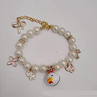 Customer reviews Daeou pet collars White chicken Imitation pearl cartoon bell necklace Cat Small Dog collar Ornament