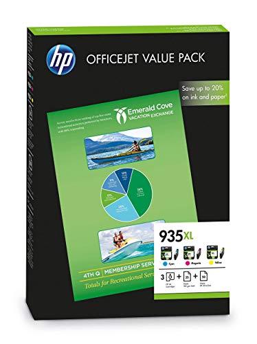 HP 935XL F6U78AE, Paquete de Ahorro para Oficina, Pack de 3 Cartuchos de Tinta de Alta Capacidad Originales, Cian, Magenta y Amarillo, y 75 Hojas de Papel de Impresión A4