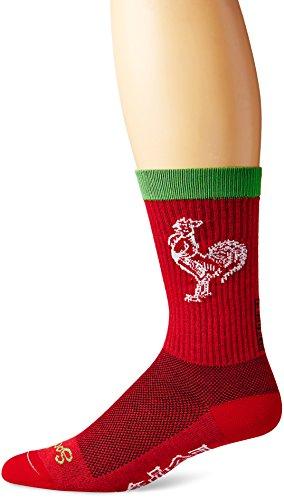 Toy Zany SockGuy Sriracha Mens Red Crew Socks L/XL