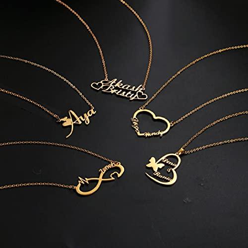 zonger Collar Personalizado con Nombre Personalizable para Mujeres, niños, niñas, joyería de Acero Inoxidable, Collares Personalizados
