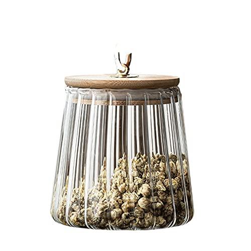 FEIHAIYANY Frascos de almacenamiento de alimentos, Tarro de café, tarro de té de cristal, pétalos transparentes, rayas verticales, té enlatado, tapa de bambú, almacenamiento de dulces para el hogar, s