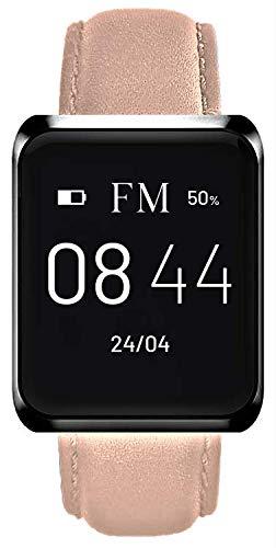 Florence Marlen FM1S Smartwatch, leren armband voor heren, bluetooth, touchscreen, waterdicht, hartslagmeter, stappenteller, melding, FM iOS en Android, Roze.