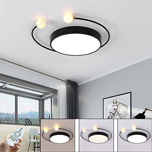 Moderne plafondlamp dimbare LED ultradunne ronde plafondverlichting 34W zwart acryl scherm decoratieve verlichting voor slaapkamer woonkamer restaurant plafondlamp met afstandsbediening Ø40cm