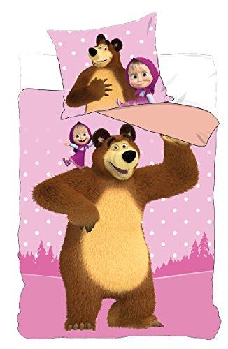 Masha und der Bär Kinder Bettwäsche in 2 Größen (140x200 cm, Flieder)