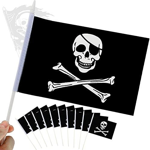 24 Stücke Mini Piraten Flagge Handheld Jolly Roger Flagge Schädelknochen Piraten Banner Miniatur Bootsflagge Verblassenwiderstandsfähig Schädel Stick Flagge für Outdoor Indoor Dekor, 5,5 x 8,3 Zoll