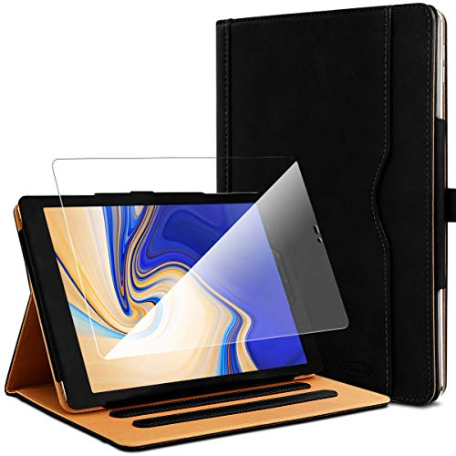KARYLAX Pack of Black Protective Case + 1 Tempered Glass Screen Protector for Samsung Galaxy Tab S4 10.5 SM-T830