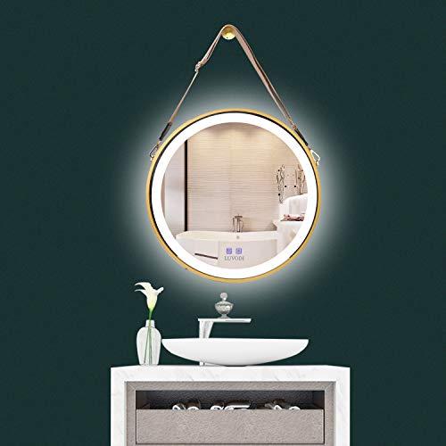 LUVODI Badspiegel Badezimmerspiegel Wandspiegel: Dimmbar LED Bleuchtung 50 x 50cm Rund Anti-Beschlag Kosmetikspiegel mit Band Wasserdicht IP44 Energiesparend