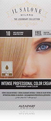 Il Salone Milano Permanent Hair Color Cream - 10 Very Light Blonde Hair Dye - Professional Salon - Premium Quality - 100% Gray Coverage - Paraben Free - Ethyl Alcohol Free - Moisturizing Oils