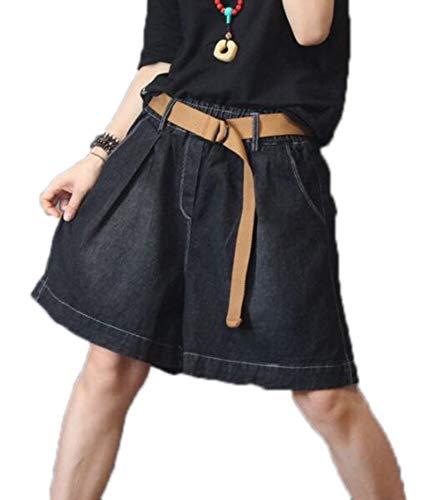 Damesshorts met elastische taille, jeans, wijde jeansbroek met wijde pijpen (zonder riem)