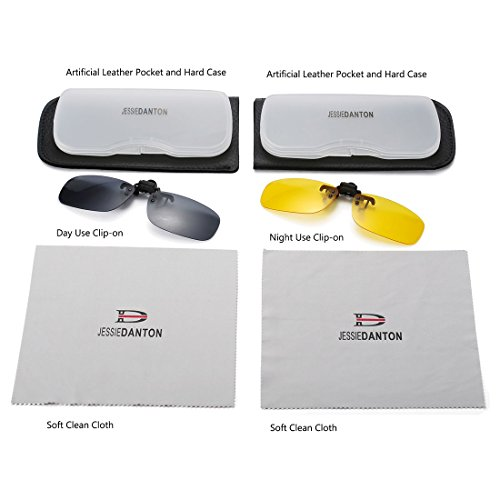 JESSIEDANTON Polarized Clip-on Flip Up Metal Clip Rimless Sunglasses, Lightweight, XL Size, Set of 2 PCS (Black + Yellow)