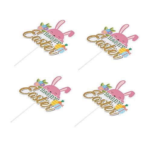 Amosfun 4Pcs Glücklich Ostern Cupcake Topper Bunny Kaninchen Kuchen Topper Zahnstocher Dekorationen für Geburtstag Ostern Tag Partei Liefert (Bunte)