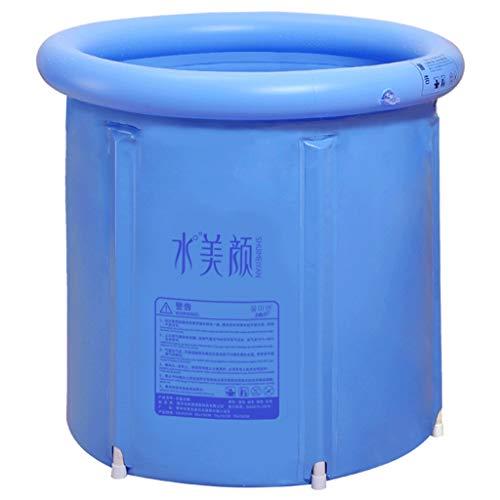 Gdonglu Bañera de plástico portátil for Adultos Bañera de remojo japonés Bañera de remojo Bañera Profunda, Bomba de inflado de pies y cojín Inflable (Size : W70×H70cm)