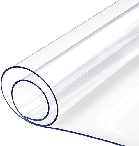 DSJMUY Salvapavimento, Tovaglia Plastica PVC,Tavolo Pellicola Lavabile Copertura per Tavolo Trasparente in plastica Spessa 1 mm Pellicola Protettiva(90x140cm/35.43x55.12in)