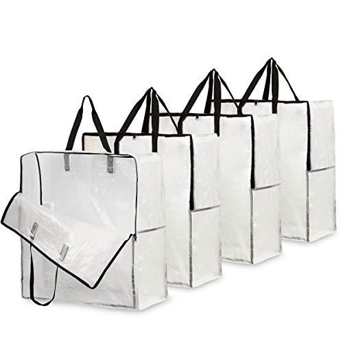 DECO EXPRESS Unterbett Aufbewahrungstasche, 4er Pack Aufbewahrung Wäschesack Waschmaschine XXL, Kleidersack Lang Jumbo Tasche, Aufbewahrungstasche für Bettdecken und Kissen