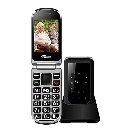Teléfono Móvil para Personas Mayores Teclas Grandes con Tapa para Ancianos con SOS Botones, Pantalla de 2,4+1.77 Pulgadas Base Cargadora