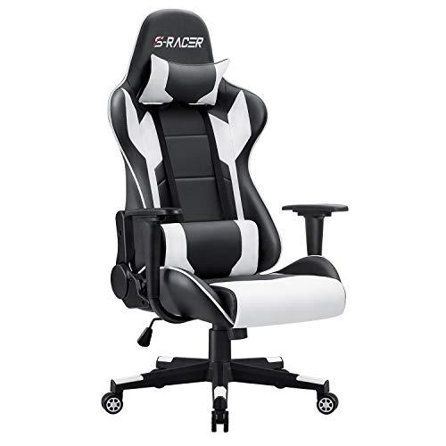 Homall Gaming Stuhl Racing Computerstuhl Ergonomischer Bürostuhl Gamer Stuhl Höhenverstellbarer Schreibtischstuhl PC Stuhl, Weiß