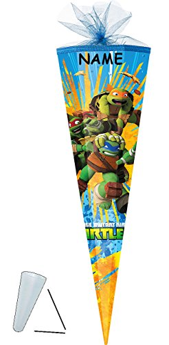 alles-meine.de GmbH Schultüte -  Teenage Mutant Ninja Turtles  - 50 cm - rund - incl. Namen - mit Tüllabschluß - Zuckertüte - mit / ohne Kunststoff Spitze - für Jungen - Turles..