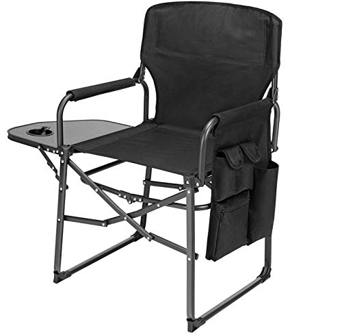 Ubon Steel Frame Folding Director#039s Chair Portable Camping Chair with Side Table Black