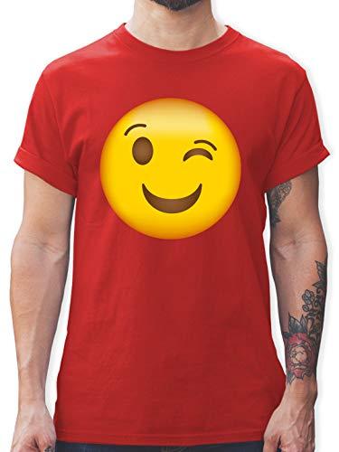 Comic Shirts - Zwinker Emoticon - XL - Rot - Shirt dunkelgrün Herren - L190 - Tshirt Herren und Männer T-Shirts