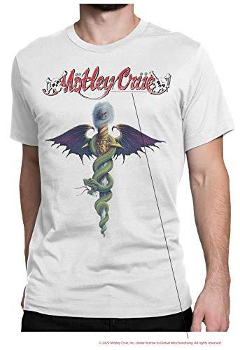 Motley Crue Mens Rock Shirt Classic Rock Vintage Tee - Nikki Sixx, Vince Neil, Tommy Lee (White, Large)