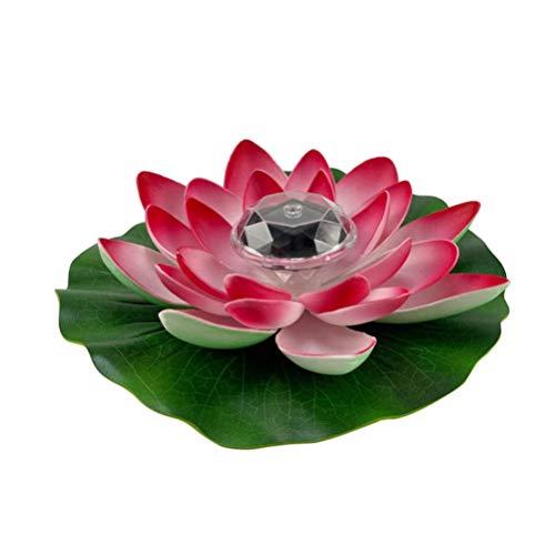 FRCOLOR - Farol flotante de loto con luces solares para piscina, nenúfar, flotante, realista, flor de loto para patio, piscina, estanque, decoración