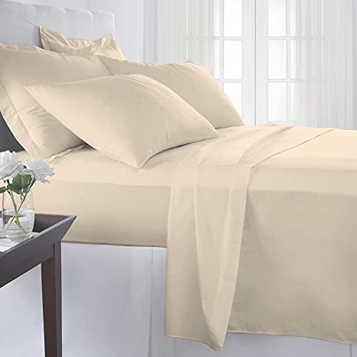 Pizuna Cotton 400 Thread Count Solid Beige 100% Long Staple Cotton Satin King Size Elastic Fitted Sheet with 2 Pillow Covers