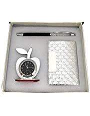 Lavanaya Silver 4 in 1 Golden Corporate Gift Set with Apple Clock,Crystal Pen,Business Card Holder (Premium Quality) (Golden with Key Chain (Silver 3in1)