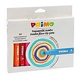 PRIMO Morocolor, Jumbo Markers 12 marqueurs à Gros Points marqueurs de boîte en Carton, 12 Couleurs Vives et Lumineuses, Grande Pointe de 7,6 mm, marqueurs lavables pour Enfants, Made in Italy