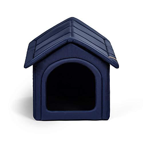 R Rexproduct Home Premium Hundehütte Hundehaus Tierhaus Flattbar Wasserfest Kratzfest Dunkelblau XXL (55x60x60 cm)