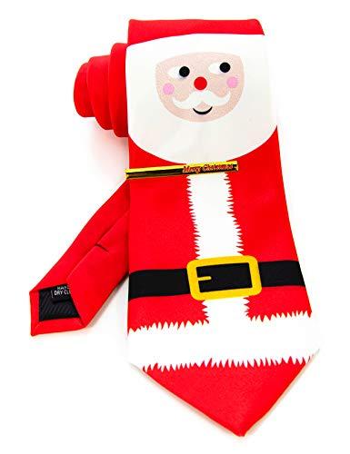 JEMYGINS Krawatte Herren Rot, Weihnachtsmann in Seide Weihnachten Weihnachtsgeschenke und Krawattenklammer Set(7)