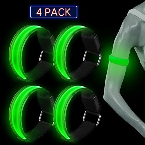 TABIGER 4 Pezzi LED Bracciale, Fascia da Braccio LED Fascia Catarifrangente per Correre Jogging Dog Walkers Correre e Altri Sport all'aperto (Verde)